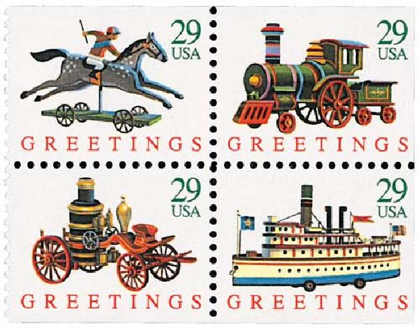 1992 29c Contemporary Christmas: Toys, booklet stamps