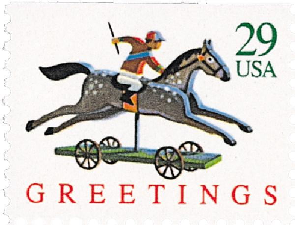 1992 29c Contemporary Christmas: Horse and Rider, booklet single