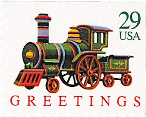 1992 29c Contemporary Christmas: Locomotive, booklet single
