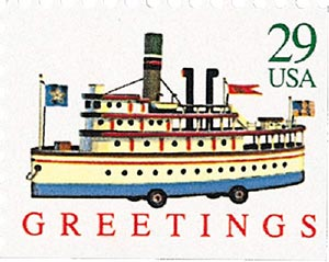 1992 29c Contemporary Christmas: Riverboat, booklet single