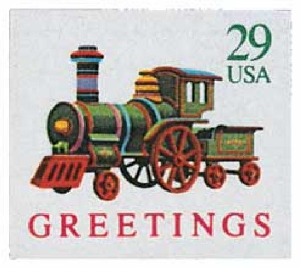 1992 29c Contemporary Christmas: Locomotive, self-adhesive