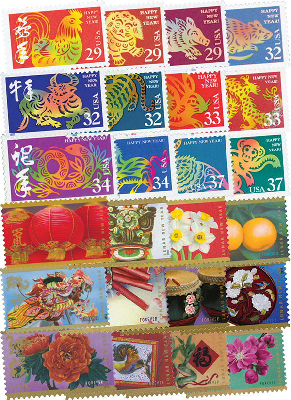 Complete Sets - 1992-2006 and 2008-19 Lunar New Year Series, 60 Mint Stamps