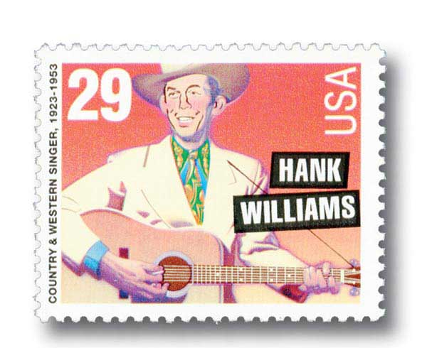 1993 29c Hank Williams, perf 11.2 x 11.5