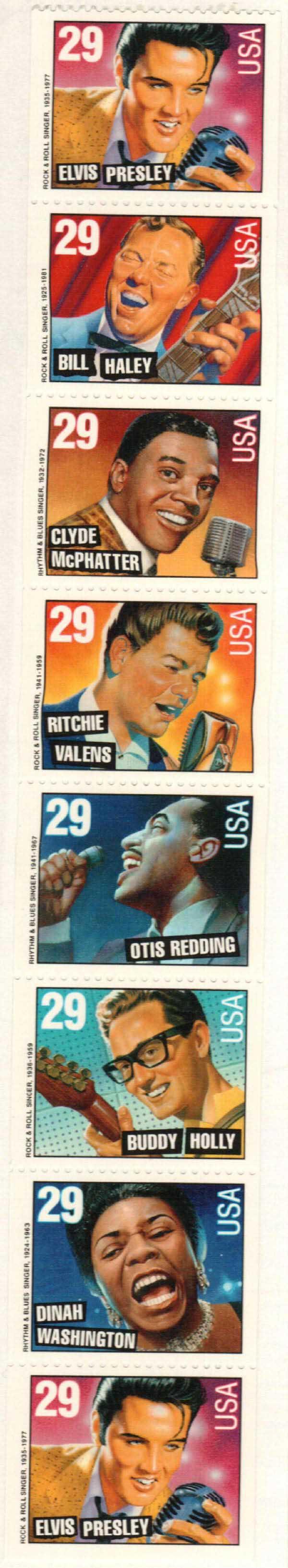 1993 29c Rock & Rhythm,bklt pane of 8