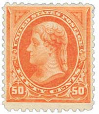 1895 50c Jefferson, DL Wmrk