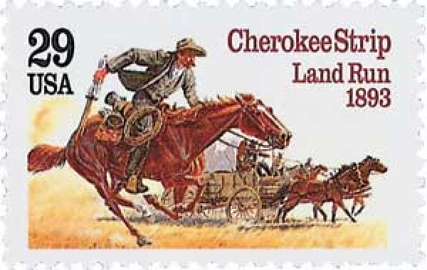 U.S. #2754 pictures people on horseback and in a wagon racing to stake their claims.