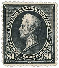 1895 $1 Perry, black, double line watermark, type I