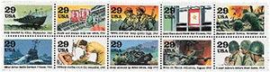 1993 29c World War II, 10 single stamps