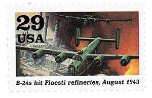 1992 B-24s Hit Ploesti Refineries stamp