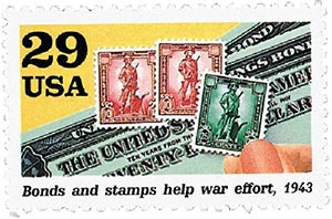 1992 29c World War II: Bonds and Stamps Help War Effort
