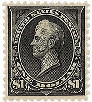 U.S. #276A – Click the image above to read about the counterfeiting scam that led to this stamp being watermarked.
