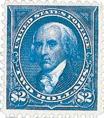 1895 $2 Madison, blue, double line watermark