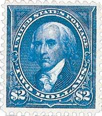 1895 $2 Madison, blue, double line watermark