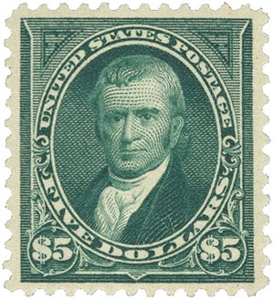 1895 $5 John Marshall, dark green, double-line watermark