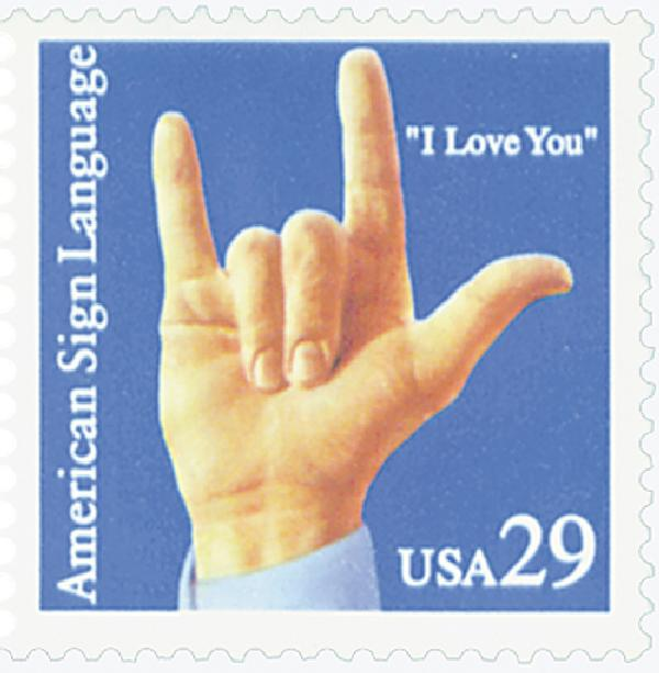 "1993 29c American Sign Language: ""I Love You"""