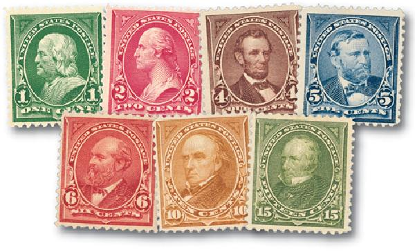 U.S. #279-84 were issued in 1898 to meet the new stamp color standards set by the U.P.U.