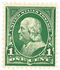 1898 1c Franklin, deep green, double line watermark