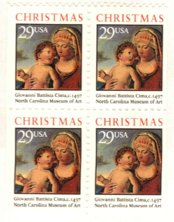 1993 29c Madonna & Child,bklt pane of 4
