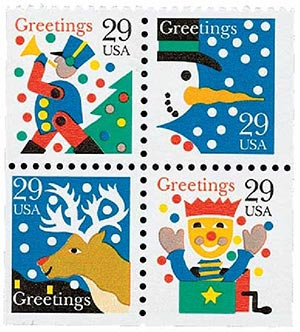 1993 29c Contemporary Christmas: Greetings, booklet stamps