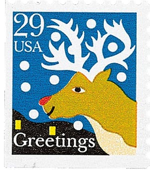 1993 29c Contemporary Christmas: Reindeer, booklet single