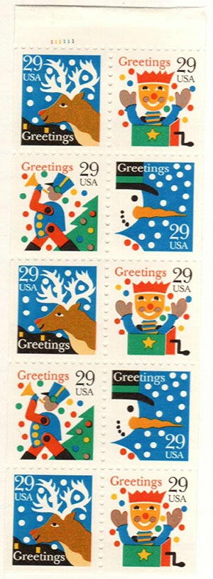 1993 29c Christmas Greetings bklt pane