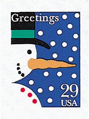 1993 29c Contemporary Christmas: Snowman, self-adhesive