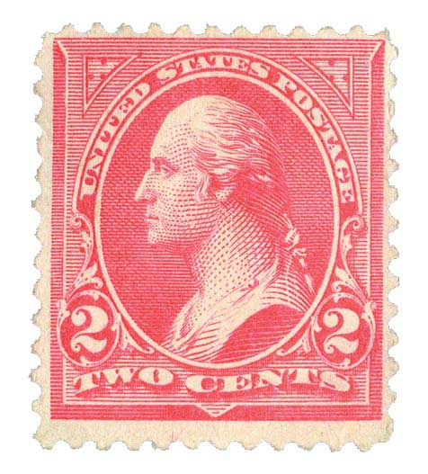 1897 2c Washington, pink, double line watermark, type IV
