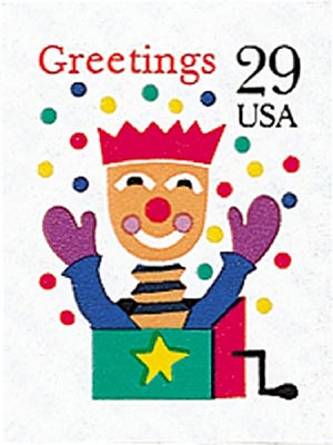 1993 29c Contemporary Christmas: Jack in the Box, self-adhesive