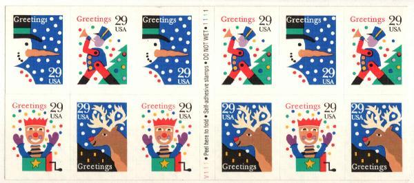 1993 29c Christmas, s/a  bklt pane