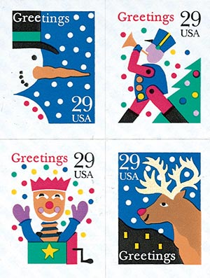 1993 29c Contemporary Christmas: Greetings, self-adhesive block of 4 stamps