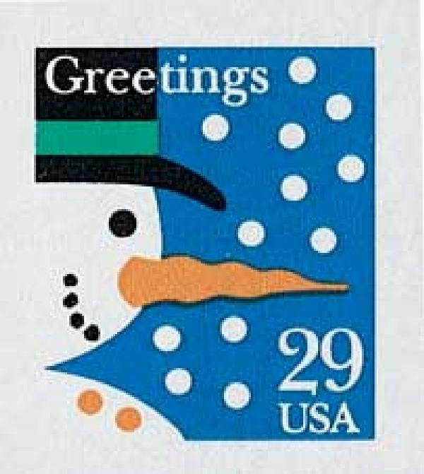 1993 29c Contemporary Christmas: Snowman (12 snowflakes)
