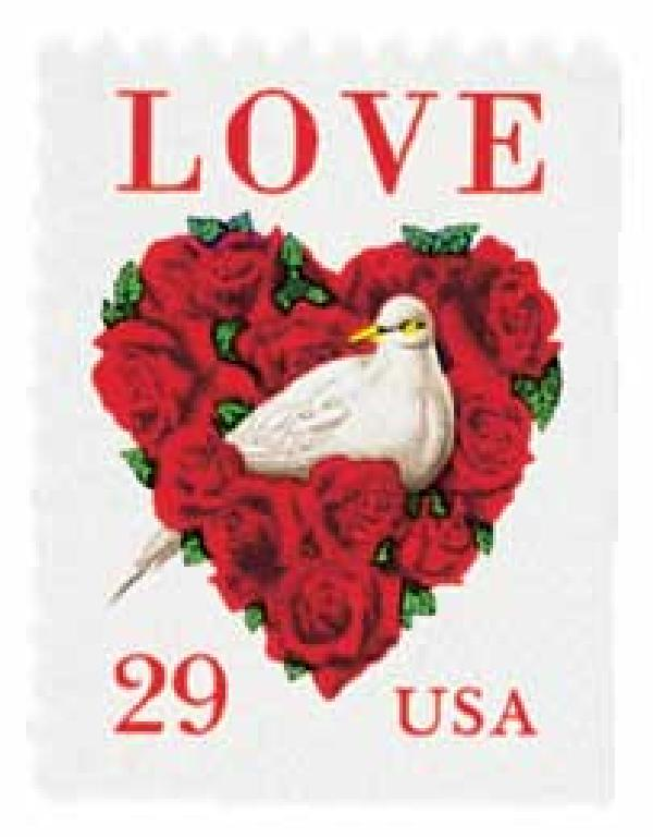 1994 29c Dove and Roses Love bklt single