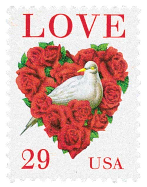1994 29c Love Series: Dove and Red Roses
