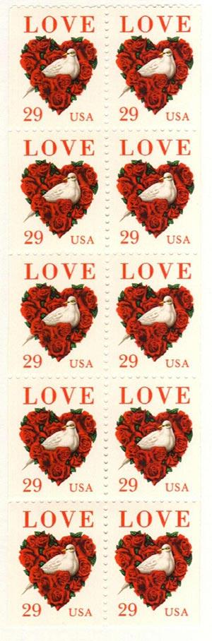 1994 29c Dove & Roses Love,bklt pane(10)