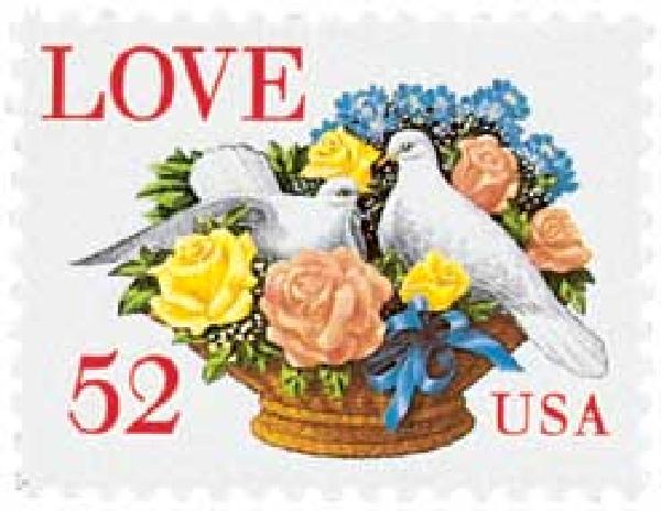 1994 52c Love Series: Dove and Roses