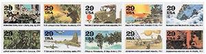 1994 29c World War II, 10 single stamps