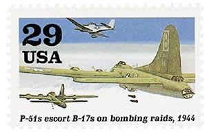 1994 29c WWII: P-51s Escort B-17s on Bombing Raids