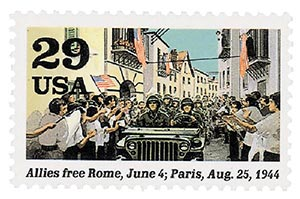 1994 29c World War II; Allies Free Rome and Paris