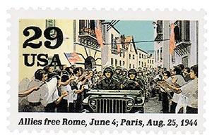 1994 29c World War II; Allies Free Rome and Paris
