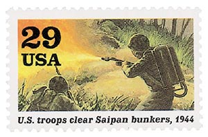 1994 29c WWII: US Troops Clear Saipan Bunkers