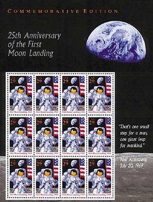 1994 29¢ Moon Landing Sheet of 12 stamps