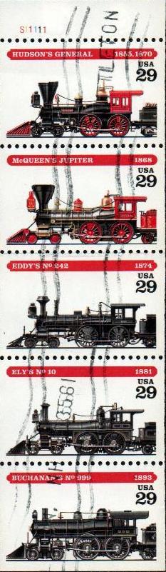 1994 29c Locomotives bklt pane