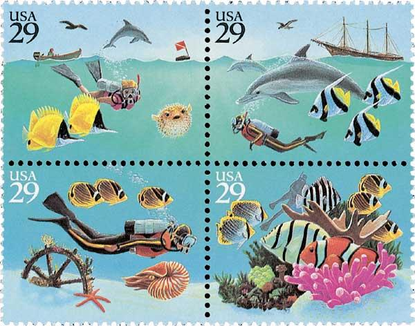 1994 29¢ Wonders of the Sea stamps