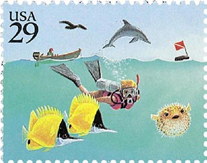 1994 29c Wonders of the Sea: Diver with Dolphin and Motorboat