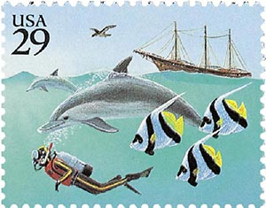 1994 29c Wonders of the Sea: Diver with Dolphin and Schooner