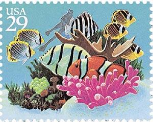 1994 29c Coral, fish