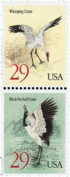 1994 29c Black-necked Crane and Whooping Crane