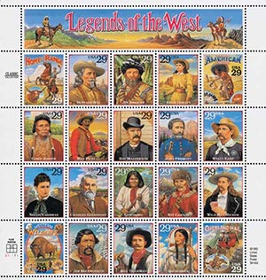 U.S. #2869 – The controversial Legends of the West stamp sheet. (Click the image to read the full story.)