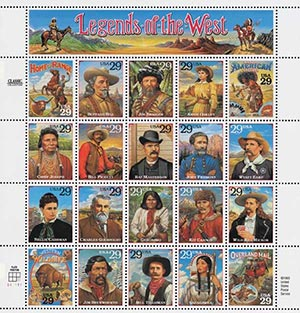 1994 29c Legends of the West, Error Sheet, 20 Stamps