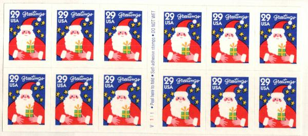 1994 29c Santa,self-adh,pane of 12